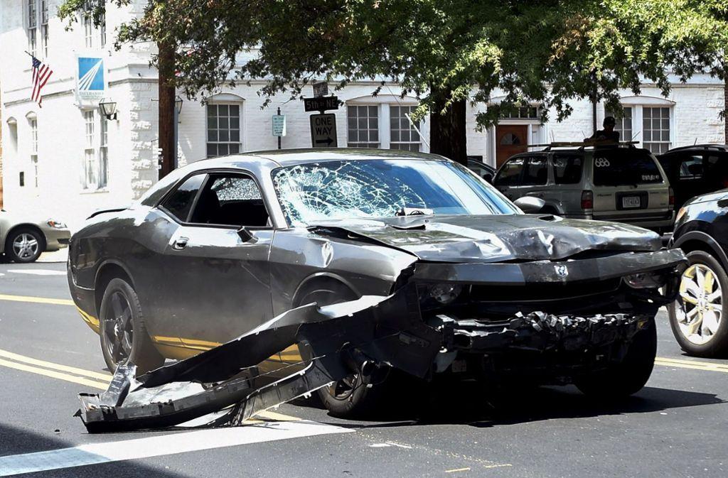 Mit diesem Wagen fuhr der Mann in die Menschenansammlung. Foto: GETTY IMAGES NORTH AMERICA