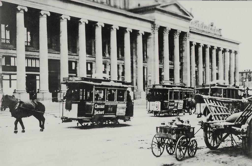 Auf der Pferdebahn war schon 1887 Schokoladen-Werbung . Foto: Straßenbahnmuseum