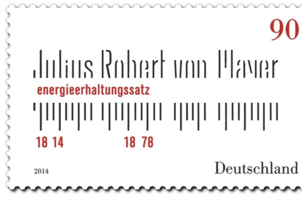 So sieht die Briefmarke für Robert Mayer aus – sehr spartanisch Foto: StZ