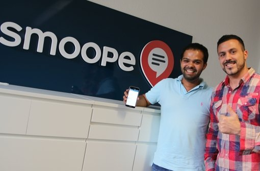 Halil Mandal (links) und Eleftherios Hatziioannou haben das Start Up Smoope GmbH gegründet. Foto: Kathrin Thimme