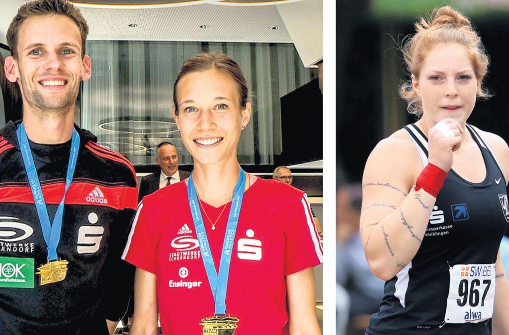 Marcel Fehr, Hanna Klein und Alina Kenzel  starten bei der Leichtathletik-EM in Berlin. Foto: SDMG/Baumann/Archiv