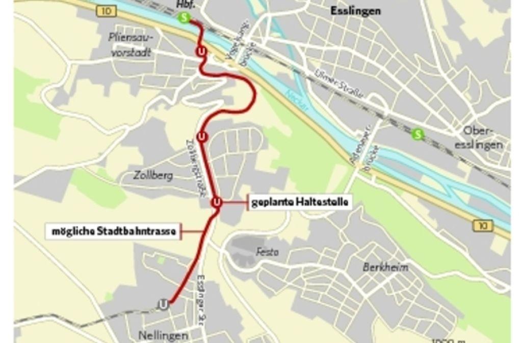 Auf dieser Trasse könnte die Stadtbahn von Nellingen ins Neckartal fahren. Foto: StZ