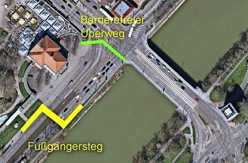 Da der neue Fußgängersteg nicht barrierefrei ist, soll auch der Ampelüberweg an der Rosensteinbrücke erhalten bleiben. Foto: Stadtmessungsamt