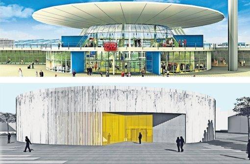 Gurkenscheibe (unten) statt Pilz: Der Bahnhof am Flughafen erhält ein neues Gesicht. Foto: Bahn