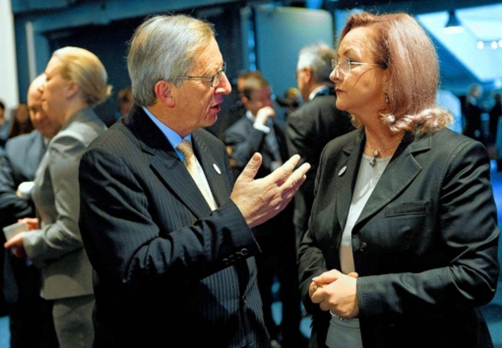 Uneins: Jean-Claude Juncker und Österreichs Finanzministerin Maria Fekter. Foto: dpa