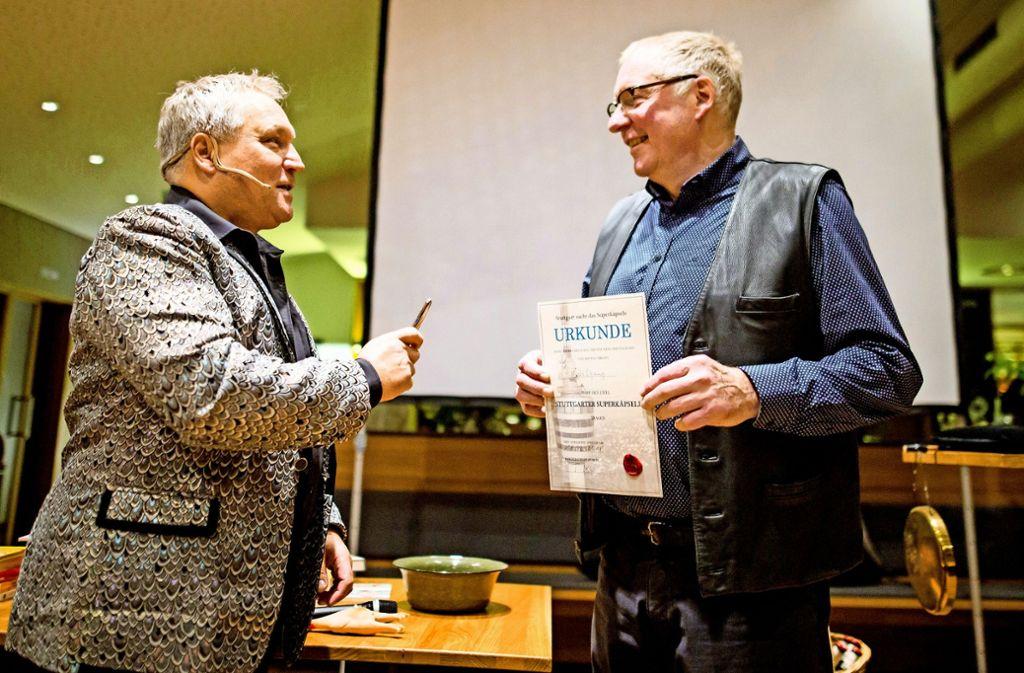 Entertainer Andreas Klaue und Super-Käpsele Wolfgang Zürn Foto: Lichtgut/Schmidt