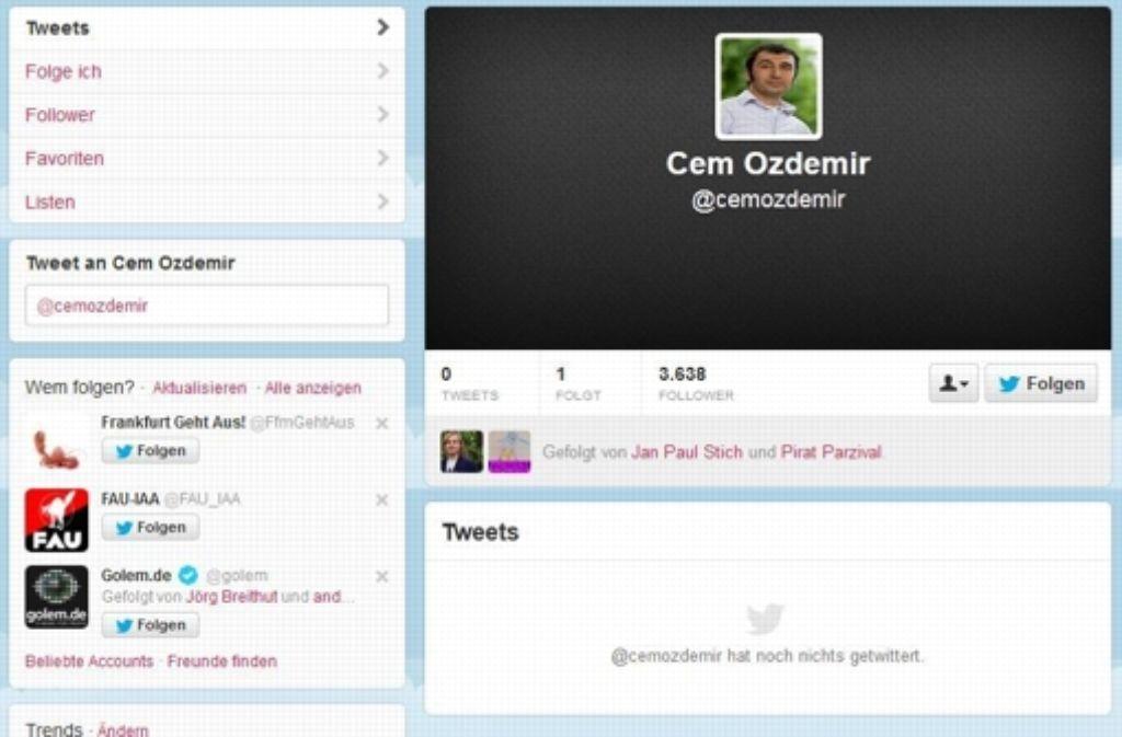 """Kurios ist Özdemirs Twitter-Account: mehr als 3600 Follower aber genau null Tweets. Sein Büro teilte mit, man konzentriere sich auf Facebook: """"Wir  erreichen damit viele Leute."""" Foto: Foto: Screenshot StZ / Stand: 6. September 2013"""