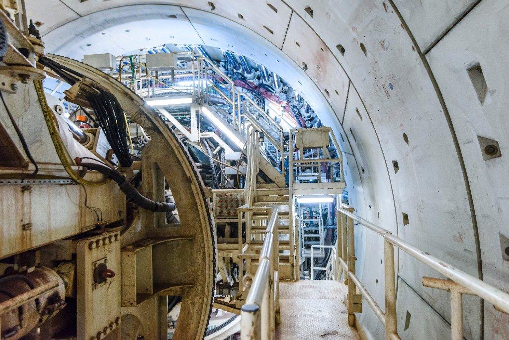 So sieht sie aus, die Bohrmaschine Suse, die den Fildertunnel für Stuttgart 21 gräbt. Foto: www.7aktuell.de | Oskar Eyb