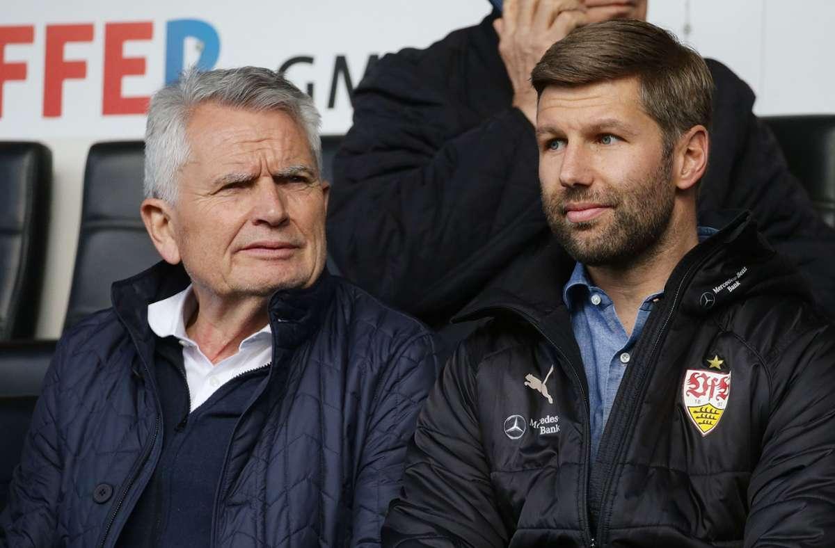 Ex-Präsident Wolfgang Dietrich (li.) übt Kritik an seinem früheren Zögling Thomas Hitzlsperger. Foto: Baumann