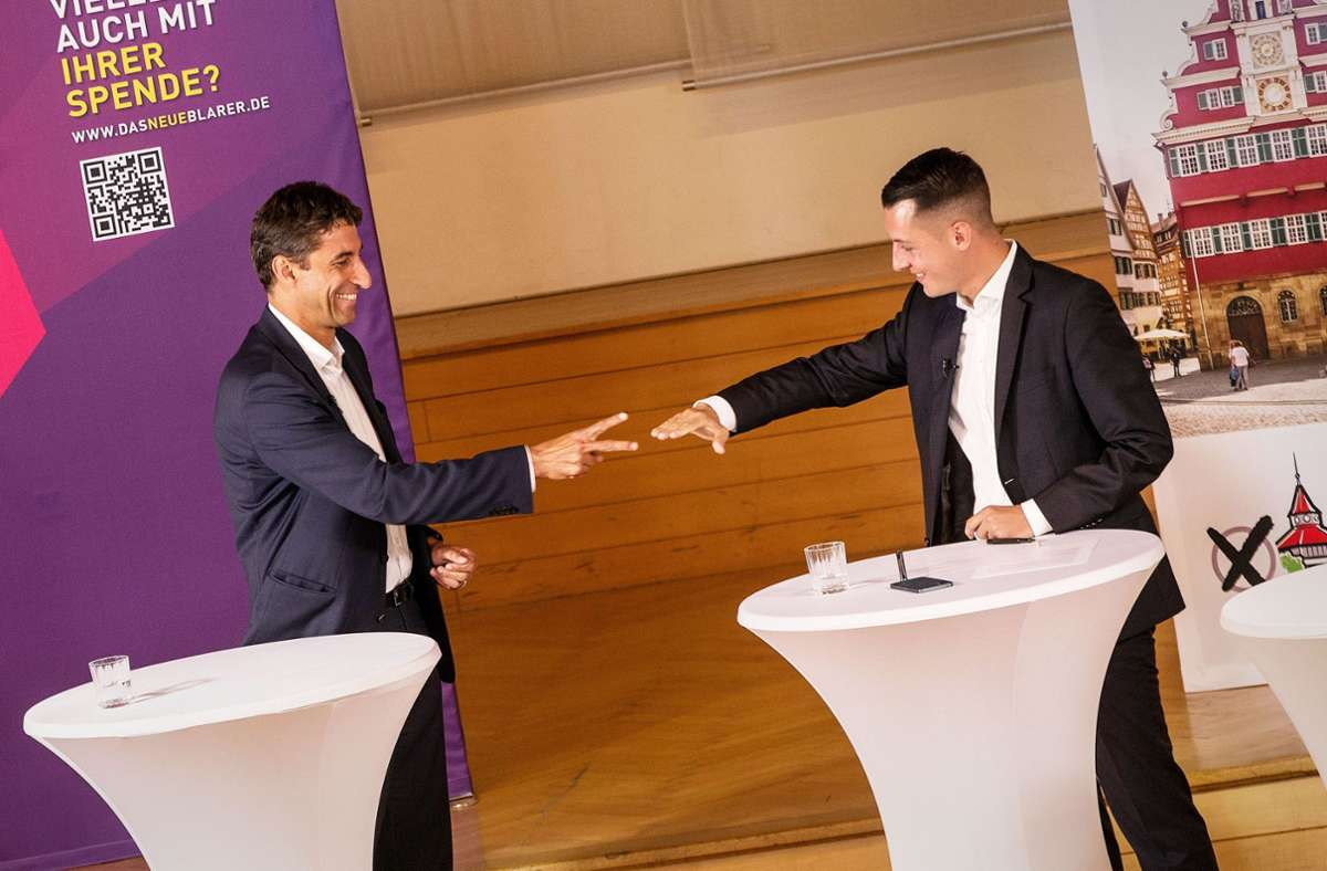 Klopfer schlägt Töpfer im zweiten Wahlgang knapp und wird neuer Esslinger Oberbürgermeister. Gabriela Letzing kann ihr Ergebnis aus dem ersten Wahlgang verbessern. Foto: Ines Rudel
