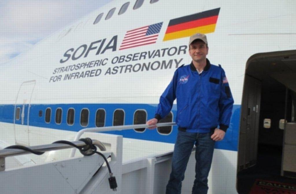 Der Stuttgarter Lehrer Sven Hanssen ist mit dem fliegenden Observatorium Sofia mitgeflogen. Foto: privat
