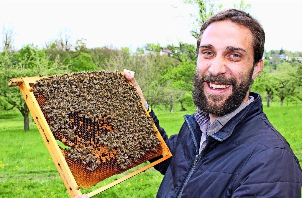 David Gerstmeier muss bei der derzeitigen kühlen Witterung seine Bienen füttern. Foto: Caroline Holowiecki