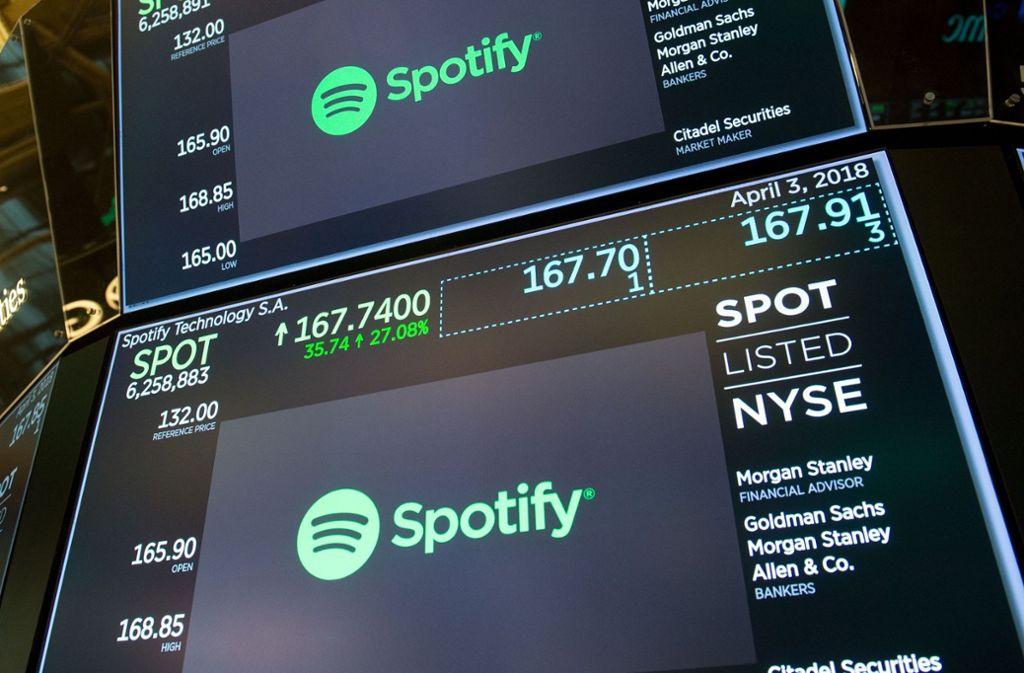 Der Streamingdienst Spotify ging in die USA, um sich Geld zu besorgen. Foto: AFP
