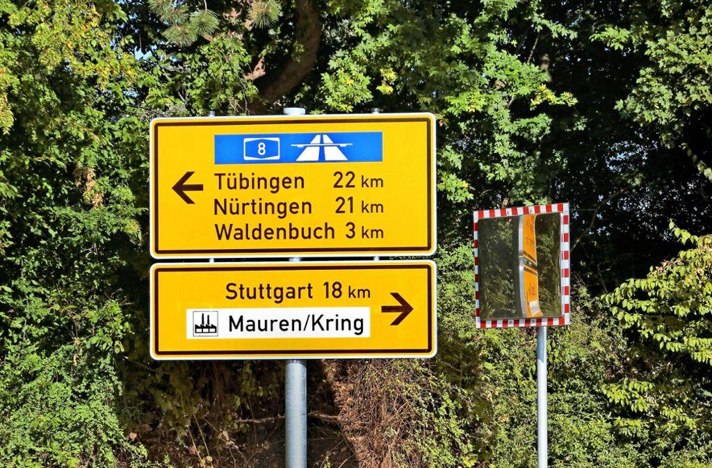 Wer zur  A8 will, wird in Steinenbronn in die entgegengesetzte Richtung geschickt. Foto: Klein
