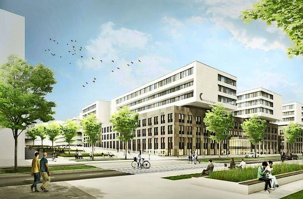 So könnte das neue Katharinenhospital in gut einem Jahrzehnt von der Kriegsbergstraße aus betrachtet aussehen. Foto: Klinikum Stuttgart