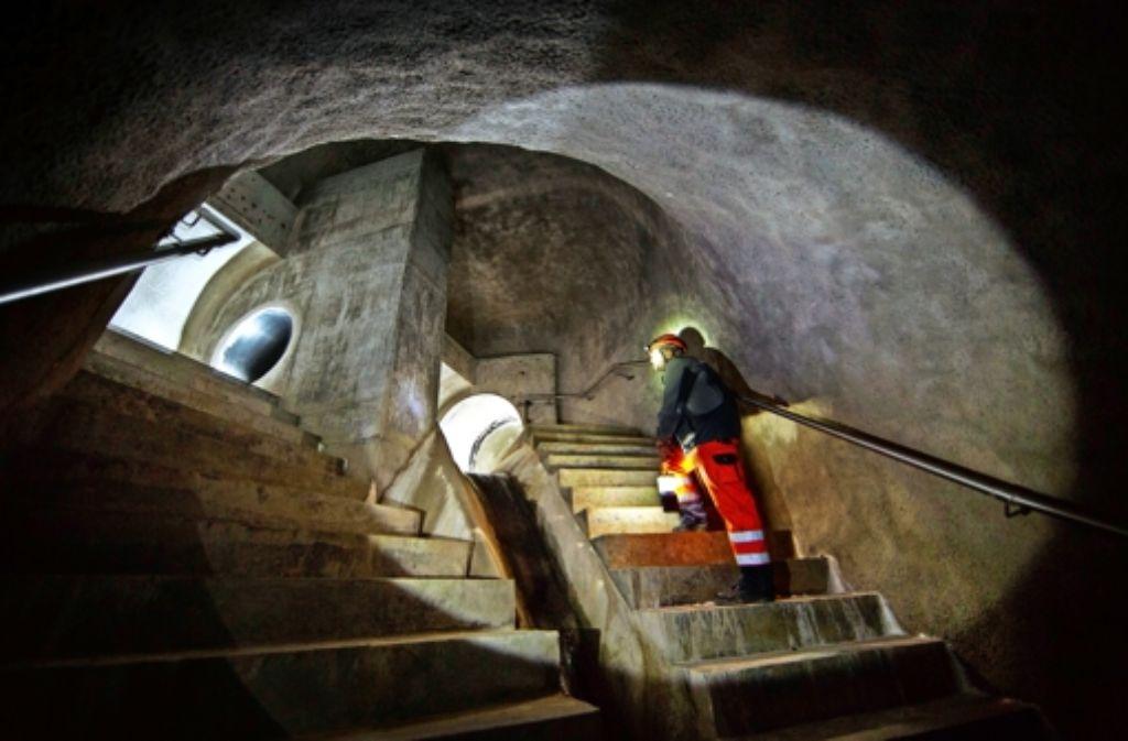 Der Beginn des Stollens wirkt fast wie eine  unterirdische Kirchenkuppel. Foto: Gottfried Stoppel
