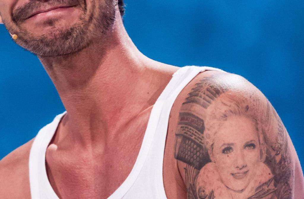 Der Oberarm von Florian Silbereisen mit  dem  Liebestattoo. Foto: dpa