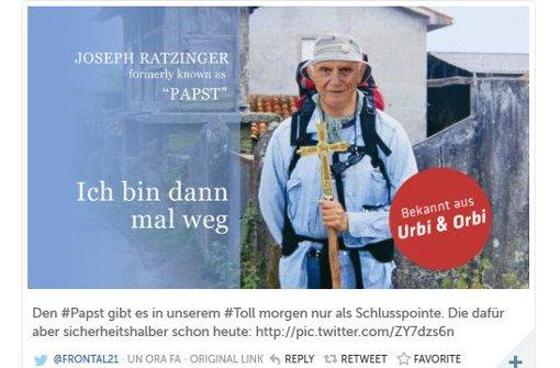 Dieses Bild twitterte die Frontal21-Redaktion als Reaktion auf den Rücktritt von Papst Benedikt XVI.. Foto: Screenshot StZ