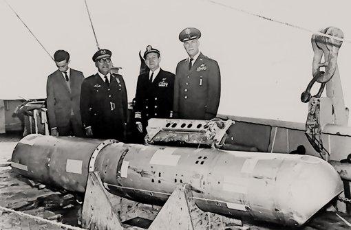 Die vierte Bombe ist nach 81 Tagen im Meer vor Palomares gefunden worden. Sie war nur wenig beschädigt Foto: U.S. Navy