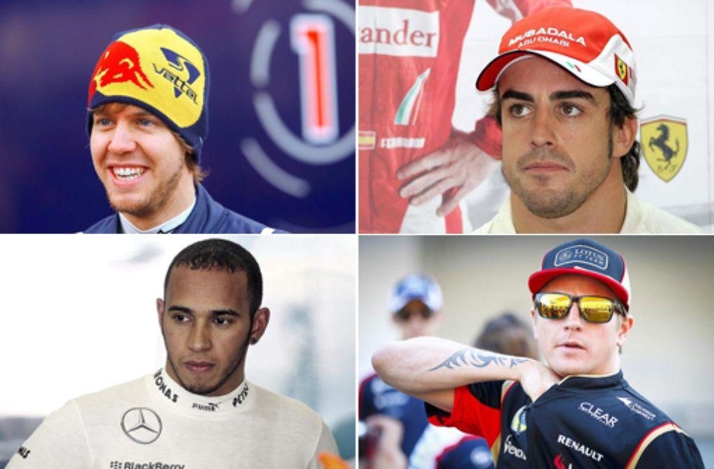 Das Formel-1-Fahrerfeld ist komplett: (Von links oben im Uhrzeigersinn) Neben Sebastian Vettel, Fernando Alonso, Kimi Räikkönen und  Lewis Hamilton treten noch 18 weitere Piloten in der Saison 2014 an. In unserer Fotostrecke stellen wir die Fahrer und ihre Teams vor - klicken Sie sich durch. Foto: dpa/SIR-Montage
