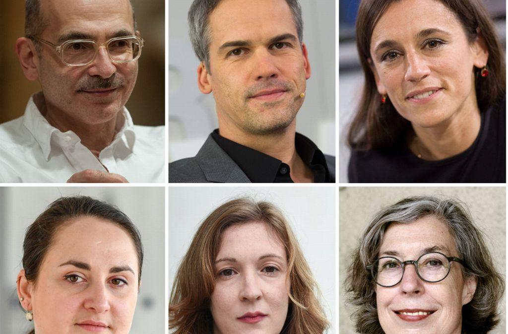 Auserwählt: Maxim Biller, Stephan Thome und Maria Cecilia Barbetta (von links nach rechts), sowie Nino Haratischwili, Inger-Maria Mahlke und Susanne Röckel. Foto: Jung und Jung/dpa