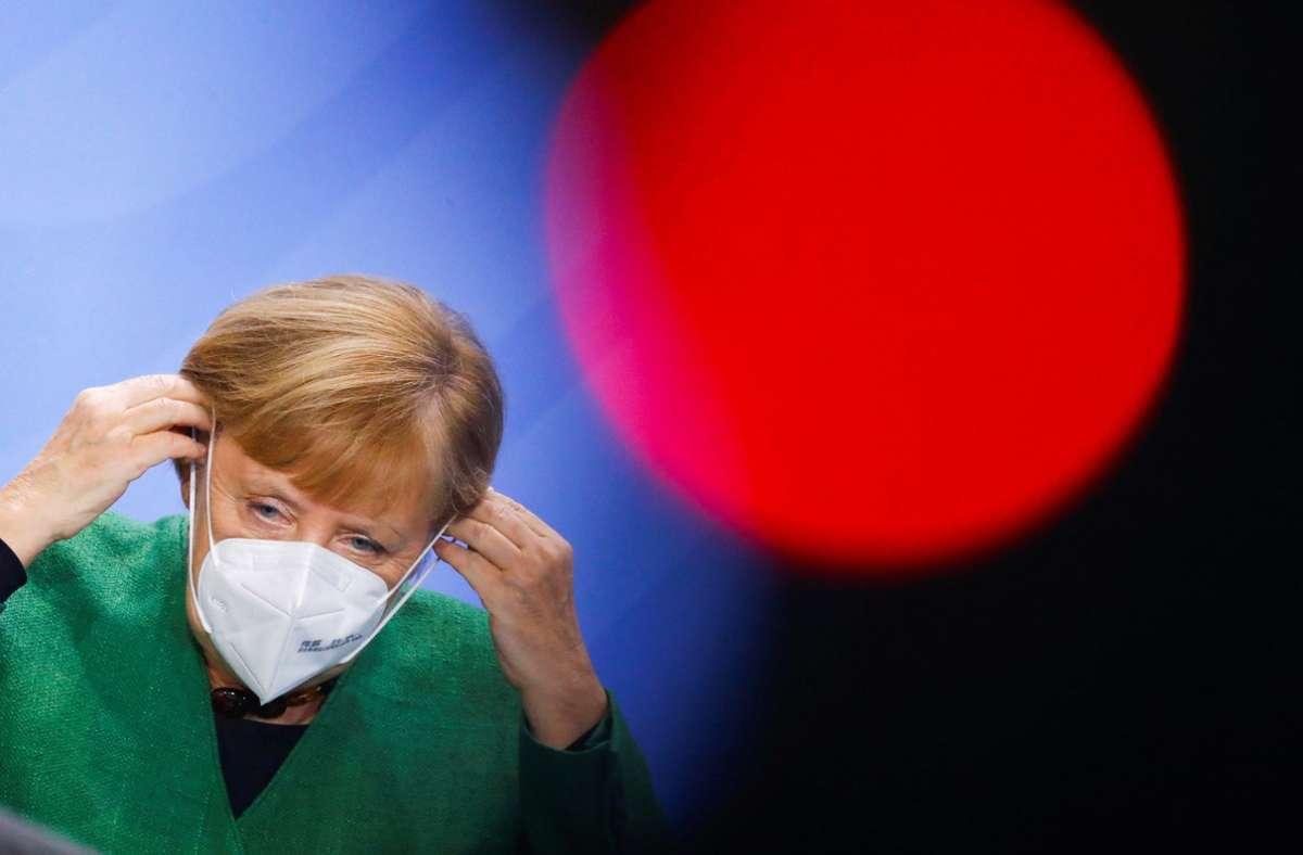 """""""Die Ansagen von uns sind nicht hart genug, um das Unheil von uns abzuwenden"""", sagte Bundeskanzlerin Angela Merkel beim letzten Bund/Länder-Treffen (Archivbild). Foto: dpa/Fabrizio Bensch"""