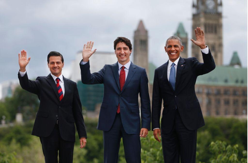 Wollen den Anteil der klimaschädlichen Gase verringern: Mexikos Präsident Pena Nieto, Kanadas Premier Trudeau und US-Präsident Obama (von links) in Ottawa Foto: AFP