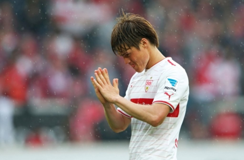 VfB-Profi Gotoku Sakai plagen Probleme am rechten Knie. Der Verteidiger geht allerdings trotzdem davon aus, bei der WM für Japan spielen zu können. Foto: Bongarts