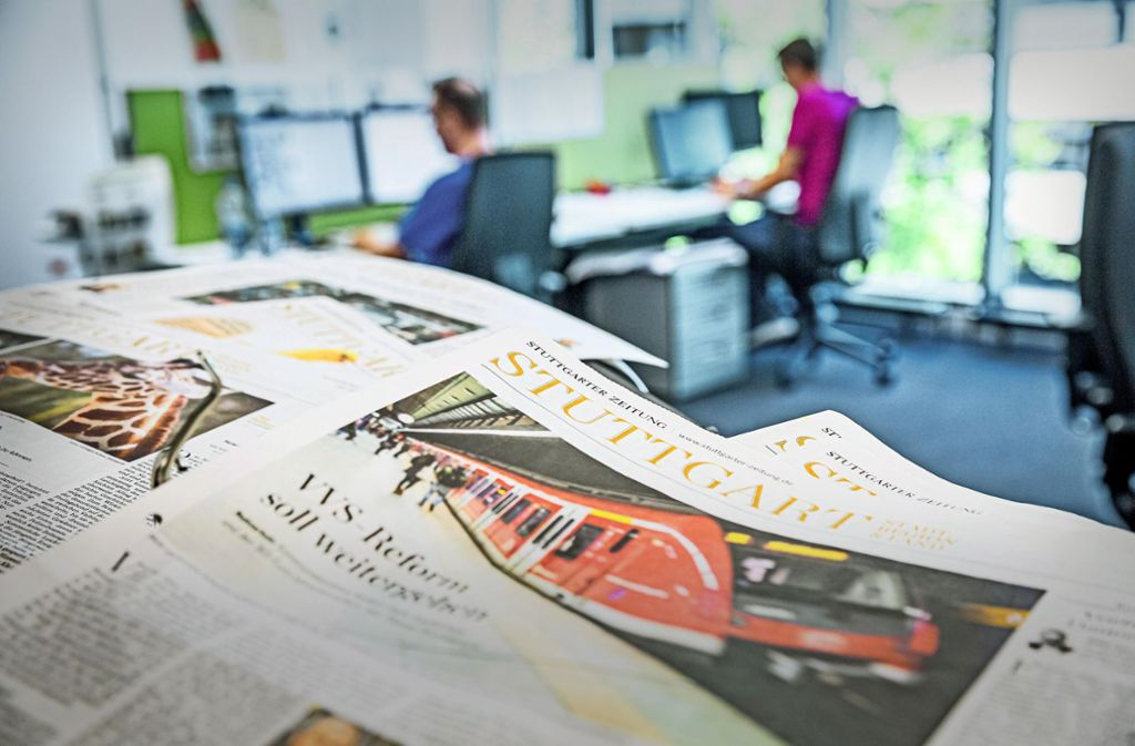 Wertvolles Gut Journalismus: Blick in die Redaktion im Stuttgarter Pressehaus Foto: Lichtgut/Julian Rettig