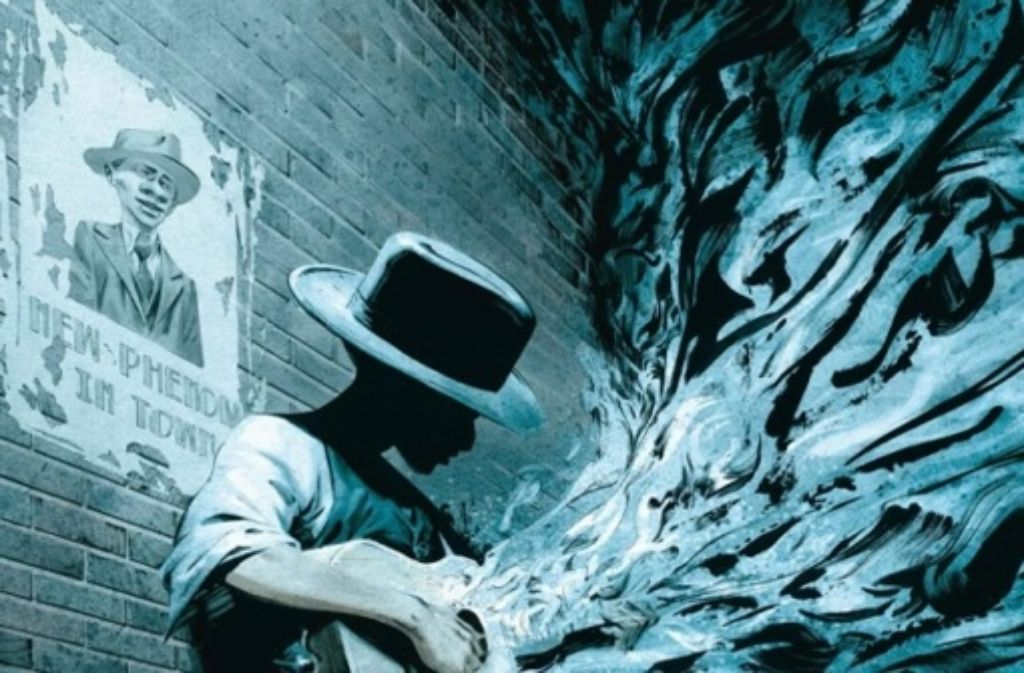 """Der Musiker RJ schafft es in """"Blue Note"""" nur beinahe, die festen Regeln der von Gangstern regierten Welt in Fluss zu bringen. Foto: Splitter Verlag"""