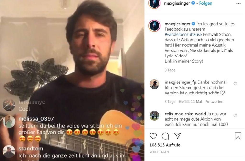 """Max Giesinger hält auch via Instagram Kontakt zu seinen Fans und spielt dort """"Nie stärker als jetzt"""" – unplugged. Foto: dpa/Britta Pedersen"""