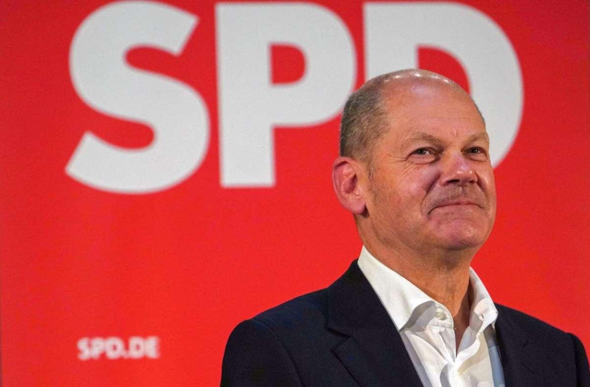 Vier Wochen vor der Bundestagswahl sieht eine weitere Umfrage die SPD mit Kanzlerkandidat Olaf Scholz als stärkste Kraft (Archivbild). Foto: AFP/PATRIK STOLLARZ