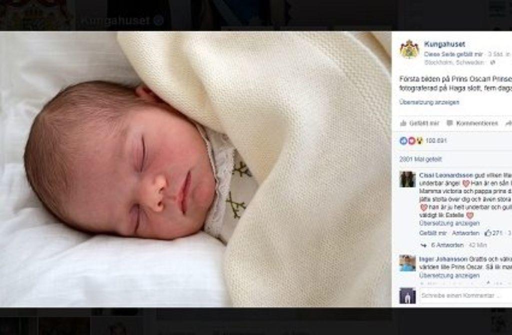 Nur fünf Tage nach seiner Geburt hat das schwedische Königshaus nun ein erstes Foto vom kleinen Prinzen Oscar veröffentlicht. Foto: Screenshot/Kungahuset
