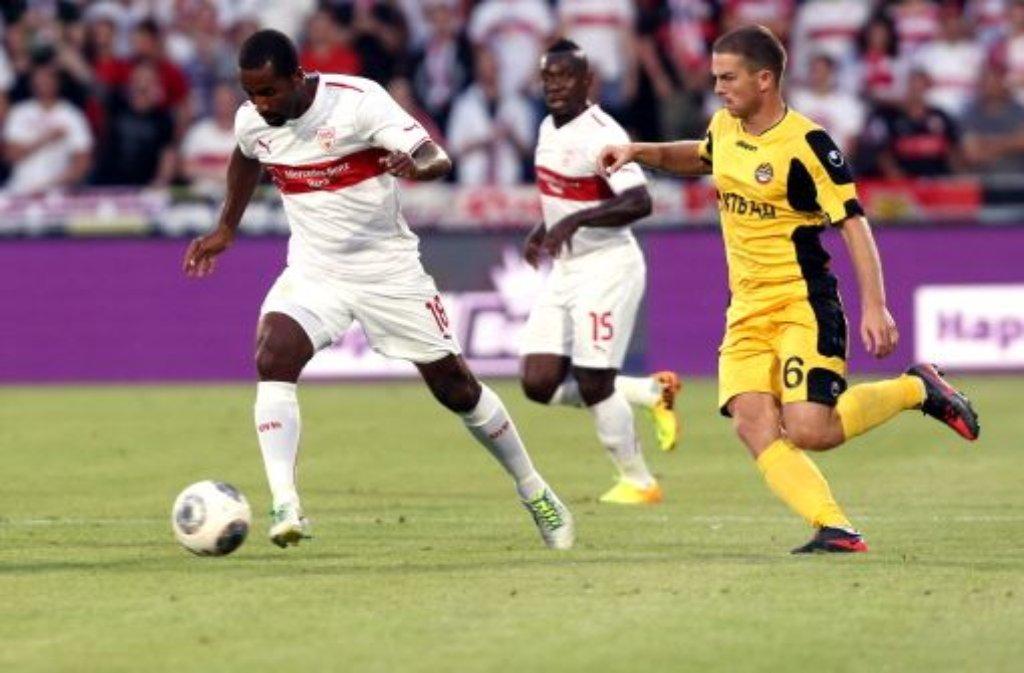 Der VfB Stuttgart hat sich nur mit Mühe in die Playoffs der Europa League gezittert. Ein mageres 0:0 gegen Botev Plovdiv reichte dem schwäbischen Fußball-Bundesligisten nach dem 1:1 im Hinspiel beim bulgarischen Tabellenführer. Foto: Pressefoto Baumann