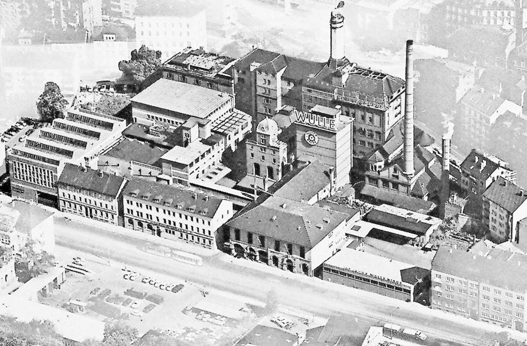 Die Brauerei Wulle mit Brauereigaststätte befand sich bis 1971 an der damaligen Neckarstraße in Stuttgart – dort, wo sich heute das Hotel Le Méridien befindet Foto: Wulle/lDinkelacker