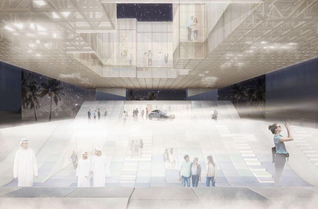 Der Entwurf für das Baden-Württemberg-Haus auf der Weltausstellung im kommenden Jahr in Dubai setzt auf Leichtigkeit. Foto: Arge VONM