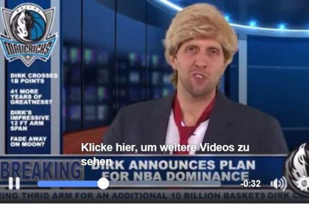 Die Dallas Mavericks haben auf Facebook einen Clip mit ihrem Star-Spieler Dirk Nowitzki gepostet.  Foto: Screenshot