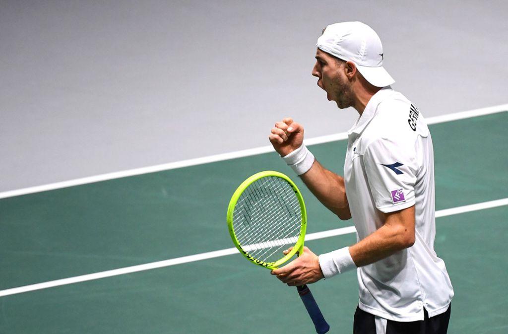 Jan-Lennard Struff siegte überraschend gegen Diego Schwartzman. Foto: AFP/GABRIEL BOUYS