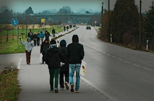 Die Asylbewerber sind zwei Kilometer vom Heidelberger Stadtteil Kirchheim  entfernt untergebracht. Ihr Weg führt sie deshalb mehrmals wöchentllich durchs Naherholungsgebiet. Foto: Alexander Müller