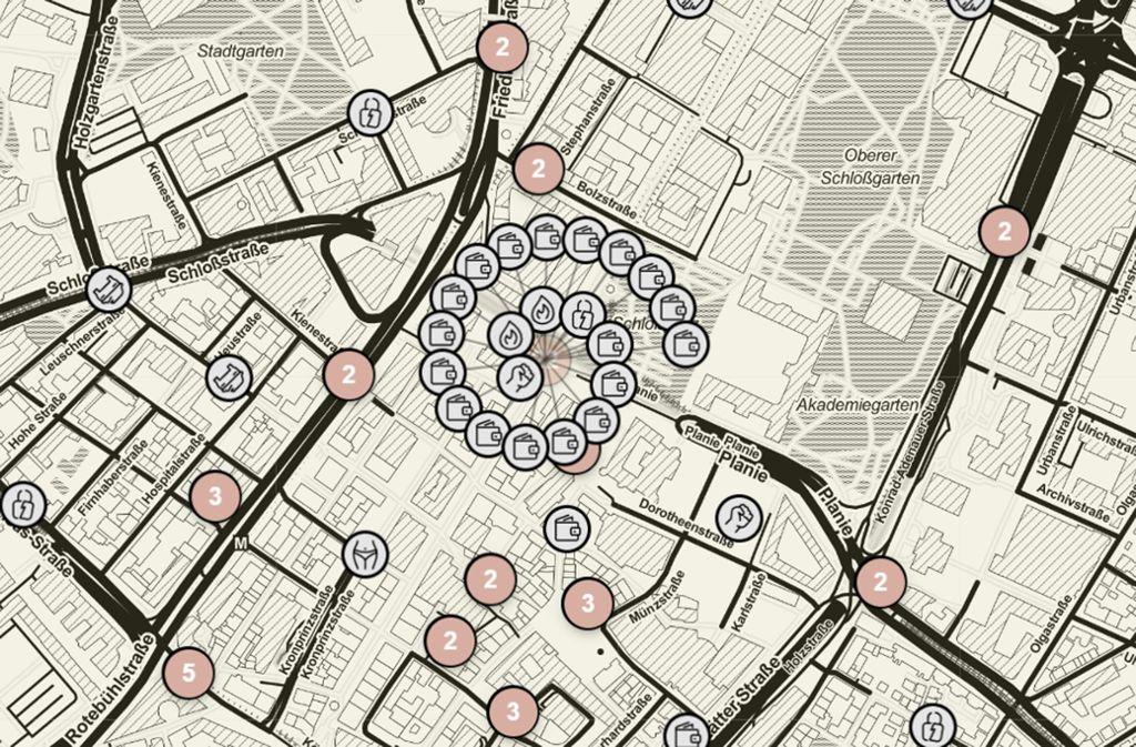 Ein gefährliches Pflaster? Dieser Ausschnitt unsere Crimemap zeigt die polizeibekannten Vorfälle in der Stuttgarter City in den vergangenen drei Monaten. Foto: Screenshot StZN