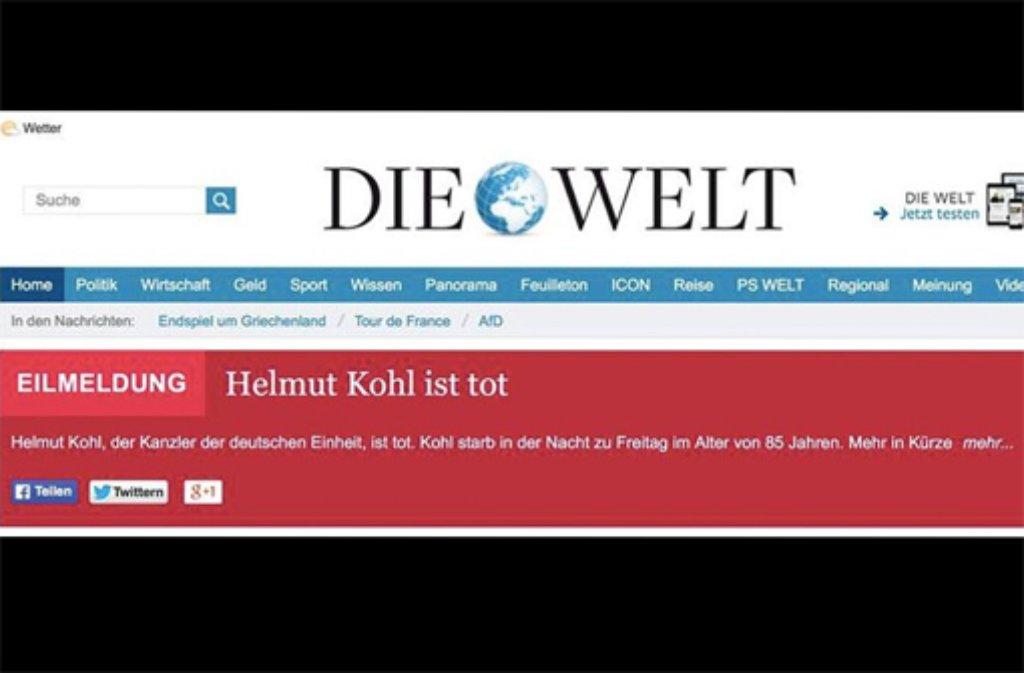Welt Online erklärt Helmut Kohl fälschlicherweise für tot. Foto: https://twitter.com/medienrauschen