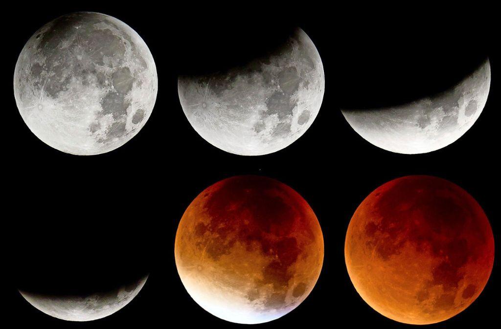 Der Mond bietet in der letzten Januar-Nacht gleich drei besondere Phänomene. Zum zweiten Mal in einem Monat zeigt er sich voll am Himmel. Dabei ist er der Erde besonders nah und wirkt dadurch heller und größer als sonst. Dazu kommt noch eine totale Mondfinsternis. Foto: dpa