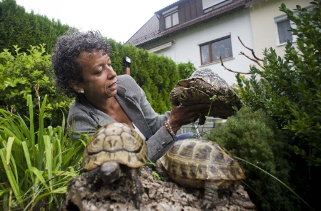 Christin Kern kümmert sich um Landschildkröten und hat dafür den baden-württembergischen Tierschutzpreis erhalten. Foto: Max Kovalenko