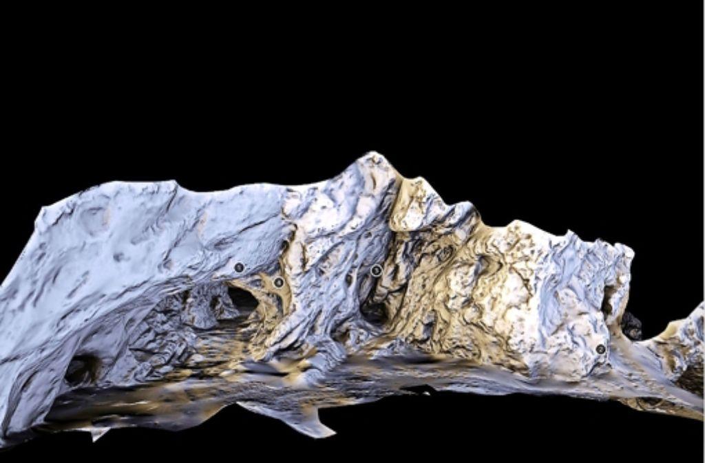 Der Hohlenstein-Stadel (Eingang links) und die Bärenhöhle, digitalisiert und in Frontansicht. Die Zählmarken dienen der Orientierung beim Drehen des Objekts. Foto: StZ