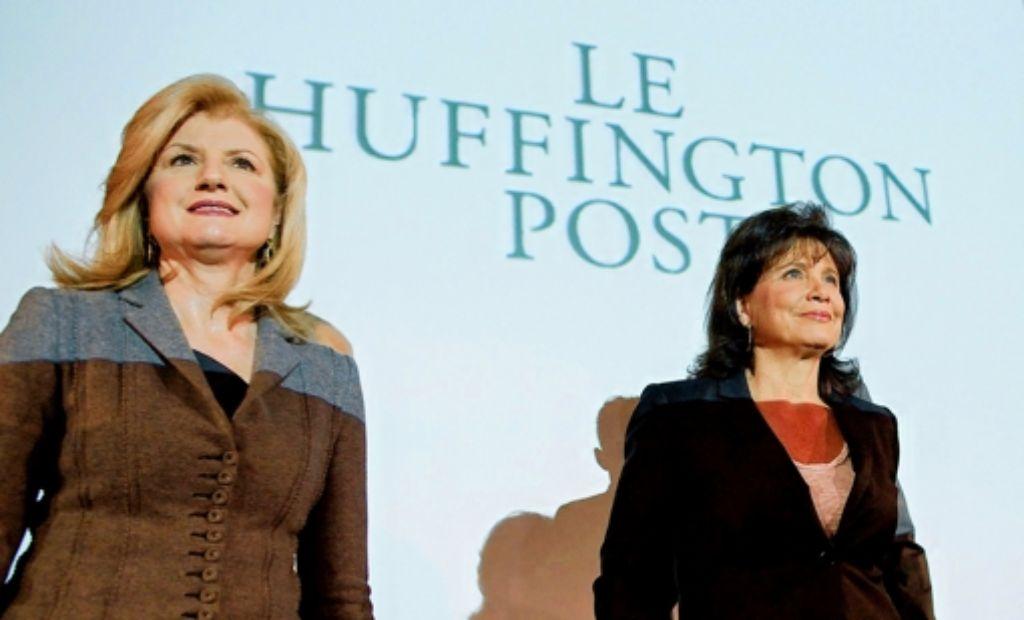 2013 war das erfolgreichste Jahr für AOL in den vergangenen zehn Jahren, erklärte Firmenchef Tim Armstrong am Sitz in New York. Unter anderem gehört AOL die Huffington Post (auf dem Foto: Anne Sinclair/rechts und Arianna Huffington). Foto: dpa