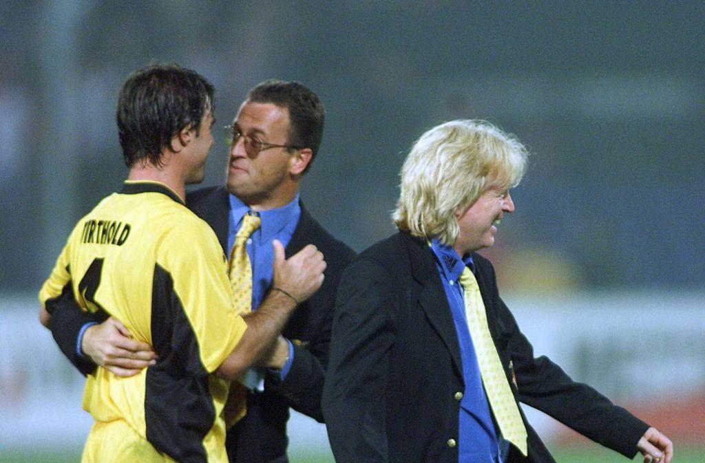 Große Freude im VfB-Lager nach dem Sieg im Rückspiel in Rotterdam. Foto: imago sportfotodienst