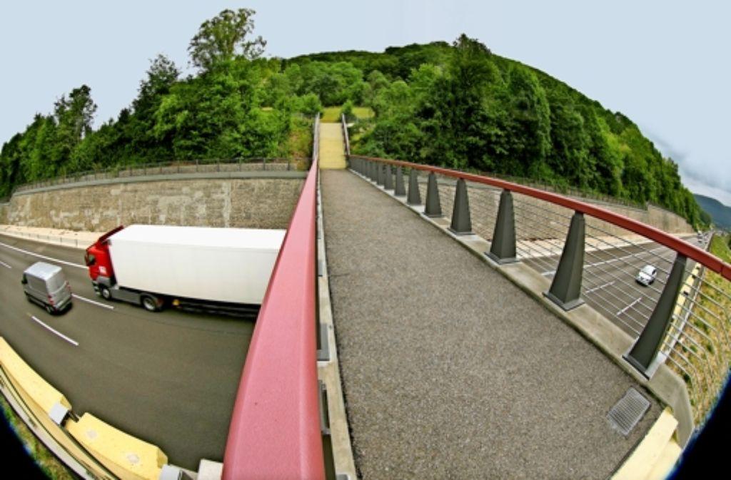 Hinter dem Horizont soll es, wie Udo Lindenberg singt, weitergehen. An dieser Brücke über die A 8 bei Gruibingen endet der Weg für Landwirte mit ihren Traktoren. Foto: Horst Rudel