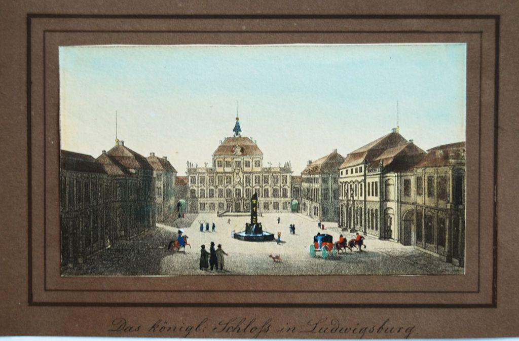 Eine historische Ansicht des Ludwigsburger Schlosses, entstanden um das Jahr 1820. Lange Zeit war die Residenz viel bedeutender als die Stadt, die sie umgab. Weitere historische Bilder finden Sie in unserer Bildergalerie. Foto: Stadtarchiv Ludwigsburg