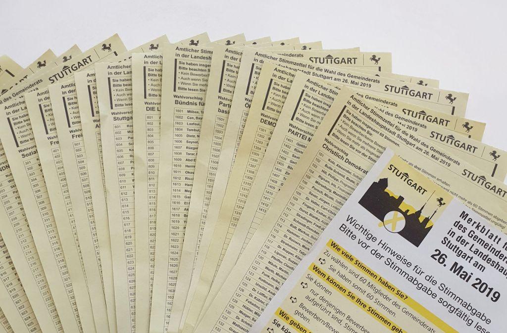 So sehen die Stimmzettel für die Kommunalwahl aus. Foto: Madeleine Hellmann