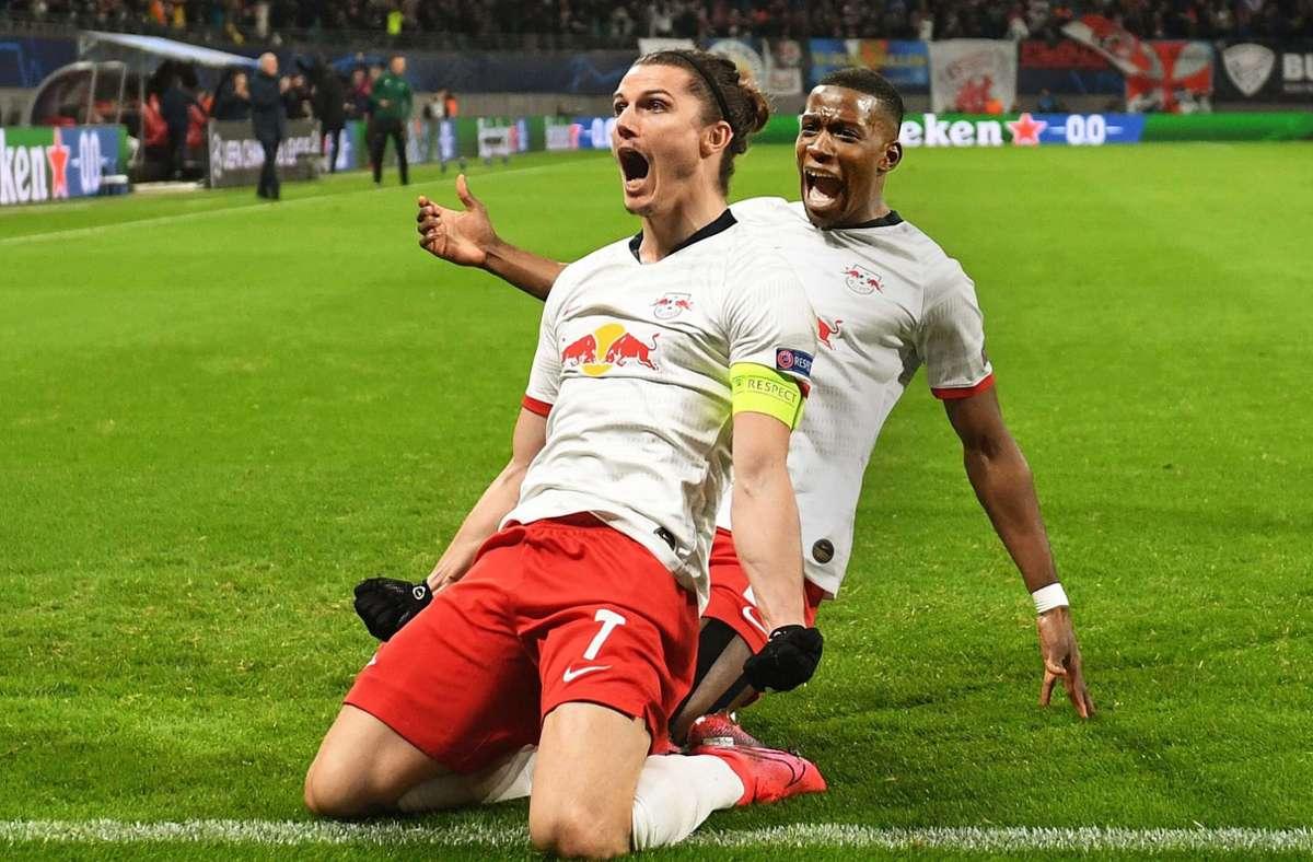 RB Leipzig um Marcel Sabitzer (vorne) steht bereits im Viertelfinale der Champions League. Foto: dpa/Hendrik Schmidt